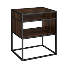 "20"" Industrial Metal and Wood Side Table with Open Shelf - Dark Walnut"