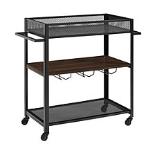 "36"" Industrial Metal and Wood Bar Serving Cart with Shelf and Hangers - Dark Walnut"