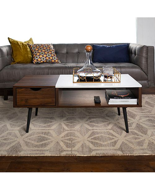 Wood and Faux Marble Coffee Table - Dark Walnut