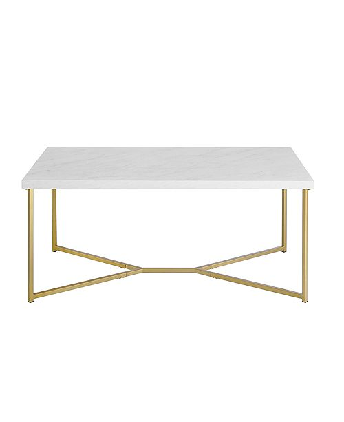 Awe Inspiring 42 Modern Style White Faux Marble Coffee Table With Y Leg Gold Base Pabps2019 Chair Design Images Pabps2019Com