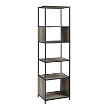 "70"" Urban Industrial Metal and Wood Bookshelf Audio Media Bookshelf - Grey Wash"