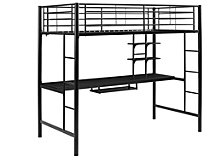 Premium Metal Full Size Loft Bed with Wood Desk - Black
