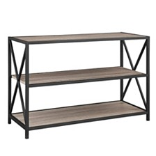 "40"" X-Frame Metal and Wood Media Bookshelf - Driftwood"