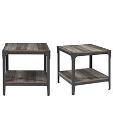 "Set of 2 20"" Rustic Wood and Metal Angle Iron End Tables - Grey Wash"
