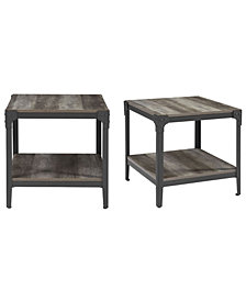 Angle Iron Rustic Wood End Table, Set of 2 - Grey Wash