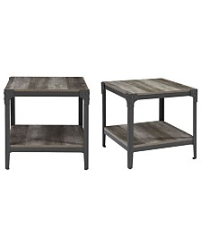 """Set of 2 20"""" Rustic Wood and Metal Angle Iron End Tables - Grey Wash"""