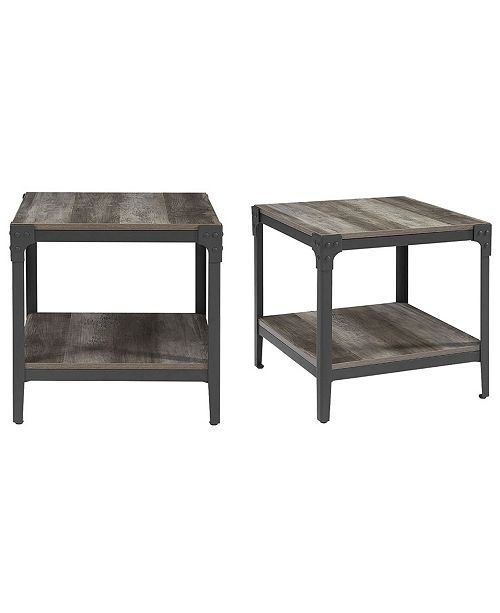 Walker Edison Set Of 2 20 Rustic Wood And Metal Angle Iron End Tables