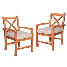 X-Back Acacia Patio Chairs with Cushions (Set of 2)