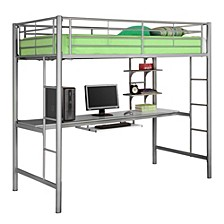 Premium Metal Twin Loft Bed with Wood Workstation- Silver