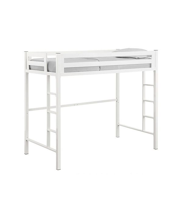 Walker Edison Premium Deluxe Twin Metal Loft Bed - White