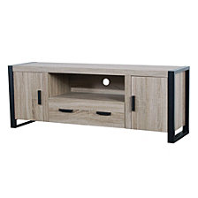 "60"" Urban Industrial Wood TV Stand Media Storage Console - Driftwood"
