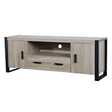 "60"" Wood Media TV Stand Storage Console- Driftwood"
