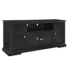 "70"" Wood Highboy TV Media Stand Storage Console - Black"