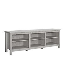 "70"" Wood Media TV Stand Storage Console - White Wash"