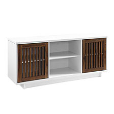 "56"" Modern Vertical Slat Door TV Stand Storage Console - Solid White/ Dark Walnut"