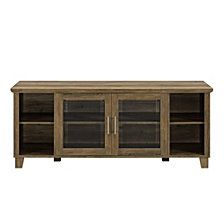 "58"" Classic Traditional Rustic TV Stand Console with Middle Doors and Shelving - Rustic Oak"