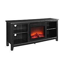 "58"" Wood TV Stand Console with Fireplace - Black"