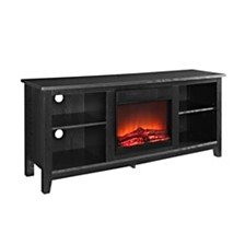 """58"""" Wood TV Stand Console with Fireplace - Black"""