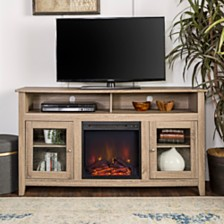 """58"""" Wood Highboy Fireplace Media TV Stand Console - Driftwood"""
