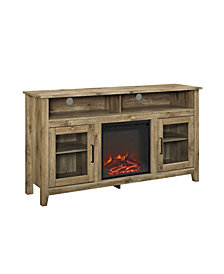 "58"" Wood Highboy Fireplace Media TV Stand Console - Barnwood"