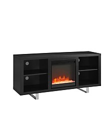 "58"" Simple Modern Fireplace TV Console - Black"