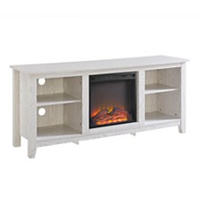 "58"" Wood TV Stand Console with Fireplace - White"