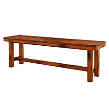 "60"" Rustic Farmhouse Distressed Wood Entryway Bench - Dark Oak"