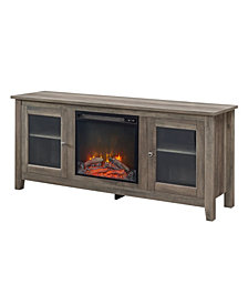 "58"" Wood Media TV Stand Console with Fireplace - Grey Wash"