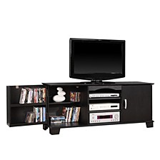"60"" Wood TV Media Stand Storage Console - Black"
