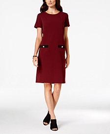 Charter Club Contrast-Pocket Shift Dress, Created for Macy's