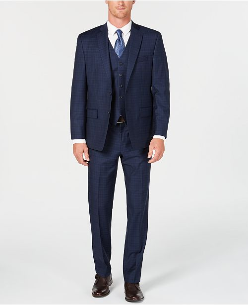 Michael Kors Men's Classic/Regular Fit Natural Stretch Navy Check Vested Wool Suit