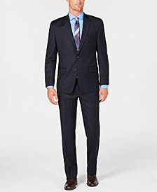 Michael Kors Men's Classic/Regular Fit Natural Stretch Navy Windowpane Wool Suit