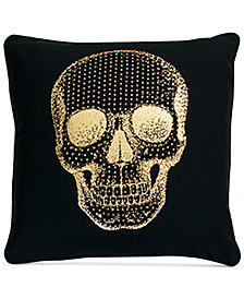 "THRO Spencer Skull 20"" x 20"" Faux Linen Decorative Pillow"