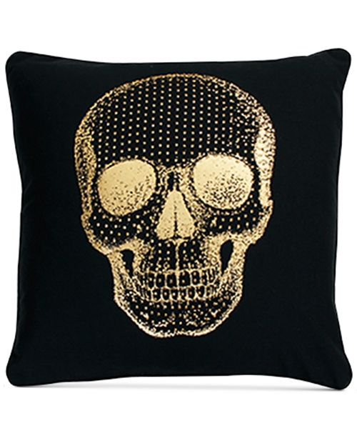 "THRO Spencer Skull 20"" x 20"" Faux Linen Decorative Pillow"