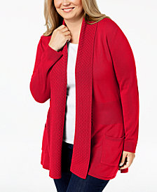 Karen Scott Plus Size Textured Shawl-Collared Cardigan Sweater, Created for Macy's