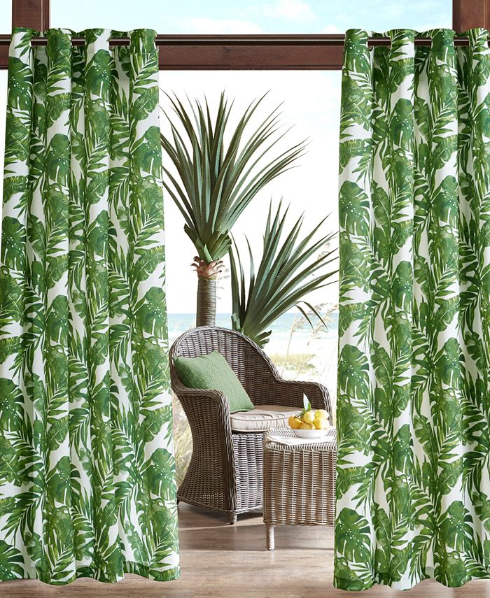 Madison Park - Everett Grommets Printed Palm 3M Scotchgard Outdoor Panel Collection