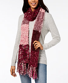 I.N.C. Mixed Yarns Colorblocked Fringe Scarf, Created for Macy's