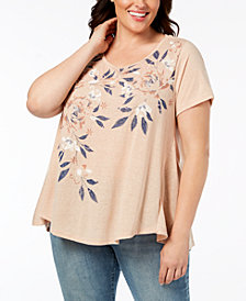 Style & Co Plus Size Floral-Print Swing T-Shirt, Created for Macy's