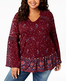 Style & Co Plus Size Mixed-Print Crochet-Trim Flounce Top, Created for Macy's
