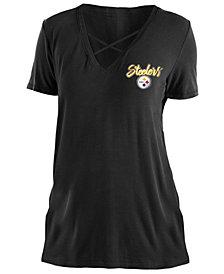 5th & Ocean Women's Pittsburgh Steelers Cross V T-Shirt