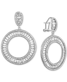 Tiara Cubic Zirconia Baguette Drop Hoop Earrings in Sterling Silver