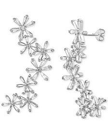 Cubic Zirconia Baguette Flower Ear Climbers in Sterling Silver