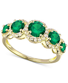 Simulated Emerald and Cubic Zirconia Ring in 14k Gold-Plated Sterling Silver