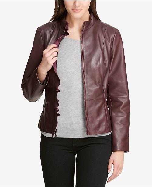 6c3f56cf140a28 ... DKNY Ruffled Leather Moto Jacket