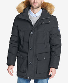 Tommy Hilfiger Men's Long Parka with Faux-Fur Hood