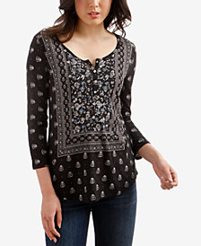 Lucky Brand Scarf-Print Half-Button Top