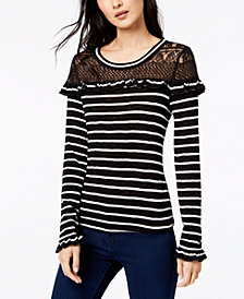 Maison Jules Striped Lace Ruffle Top, Created for Macy's