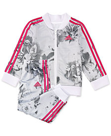 adidas Baby Girls Floral-Print Jacket & Jogger Pants Set