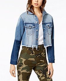 Kendall + Kylie Two-Toned Cropped Denim Jacket