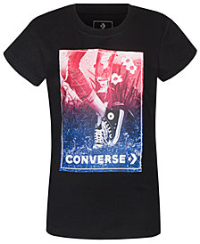 Converse Big Girls Photorealistic Logo Print Cotton T-Shirt